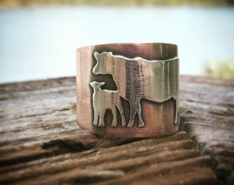 Copper and Sterling Cow/Calf Ring
