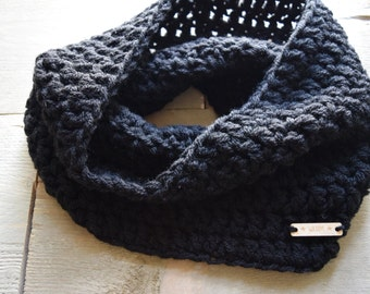 Cowl Shawl Black Teen Adult Crocheted WAARM Acrylic Warm