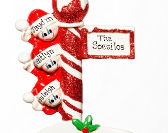 Personalized Ornament-Street Post Family of Three(3)-Free Gift Bag Included