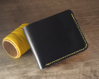 Men's Horween Leather Wallet, Navy Blue and Maize, Bifold, Minimalist, Genuine Leather