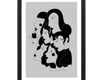 Lady Faces - Giclee print