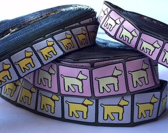 stencil dogs jacquard ribbon