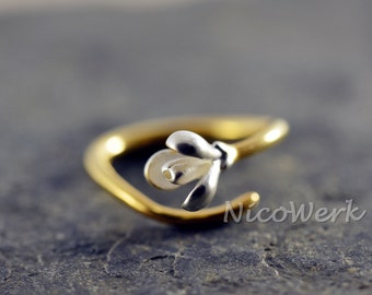 Silver ring flower ring Silver 925 adjustable ladies jewelry ladies rings 128