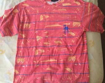 Vintage Gotcha splatter Red, Blue, and Yellow striped shirt. Grunge. 90s