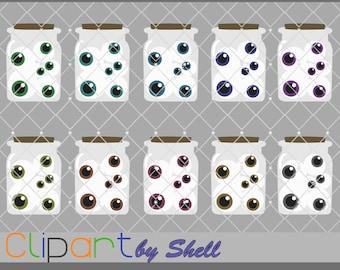 Jar of Eyes Clipart, Eyeball Clip Art, Digital Clipart, Eyeball Clipart, Halloween Clipart, Halloween Graphics, Halloween Printable