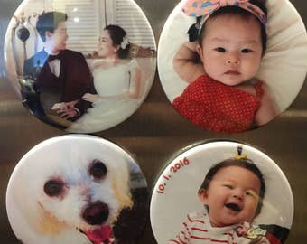 FREE SHIPPING // 3 inch Custom Personalized Photo Button Magnet