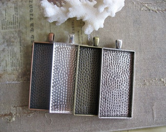 """25 1"""" x 2"""" Rectangle Pendant Trays in Gun Metal, Antique Silver, Copper, Shiny Silver Blank Bezel, Cabochon tray for photo jewelry DIY craft"""