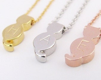 Cat Pendant Necklace with Initial Charm – Gold Cat, Silver Cat or Rose Gold Cat Necklace