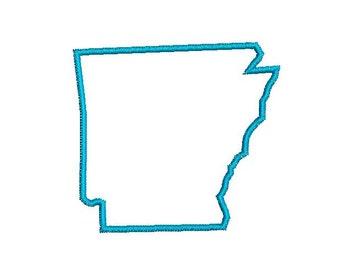 6 sizes - Arkansas Applique Design, Arkansas Embroidery Design, Arkansas State Shape Applique, Instant Download, Embroidery Pattern