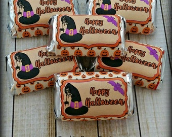 Halloween Mini Candy Bar Wrappers - Halloween Party Supplies
