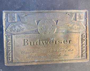 Vintage Budweiser Beer Brass Belt Buckle   American Hipster Country Rocker Brass Belt Buckle