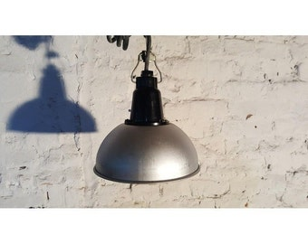 Vintage Retro Industrial Factory Army Loft Shade Lamp Lighting USSR Soviet Sale Aluminium 80s Bakelite