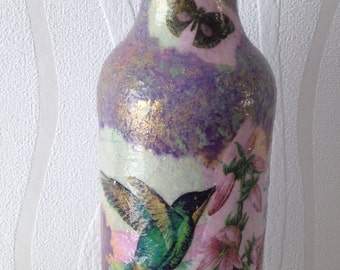Hummingbird decoupage bottle, pearlescent, ornament, home decor, pretty ornament, ladies gifts,