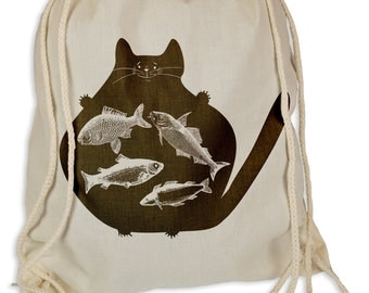 Catfish - Gymsac gym bags - tote bag hipster sports bags backpack cat cats fishing anglers