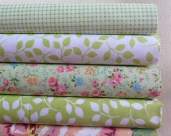 5 fabric coupons Quilt/sewing 40 x 50 cm FLOWERY green 021016 GINGHAM