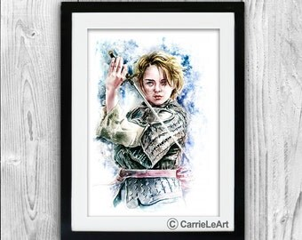 Game of Thrones print,  Watercolor PRINT  'Arya Stark'. Arya Stark Poster.Arya Stark Wall Art.Arya Stark Fan Art. GOT print. Arya Stark Art