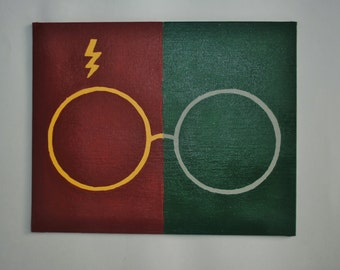 Harry Potter Scar and Glasses - A House Divided - 8x10 Hand Painted Canvas
