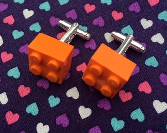 Orange Brick Cufflinks...Handmade using LEGO® parts