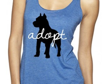 Pitbull Adopt Racerback Tank-50% of the total sale is donated to a local non-profit animal rescue!