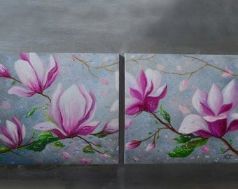 Original Pink Magnolias Oil Set of 2 Abstract Spring Flowers Modern Colorful Wall Decor Textured Artwork *Magnolia in the Rain*