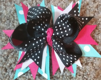 Black and Multi Colored Bow