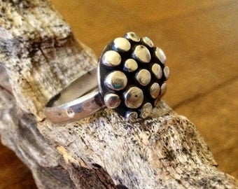 domed and oxidized sterling silver bubble ring