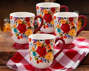 The Pioneer Woman Timeless Floral 18-Ounce Latte Mug Set, 4-Pack ORIGINAL