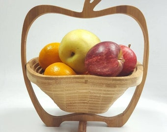 Basket Bamboo Plywood Cute Creative Design Coaster Adjustable Home Decor Handy Fruit Basket Gift