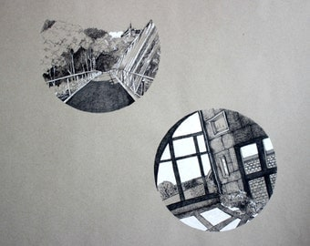 Original Ink Pen Drawing, Cork City and Slieve Bloom Mountains