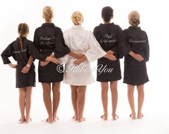 Black & Ivory satin silky feel bridal robes with silver glitter print