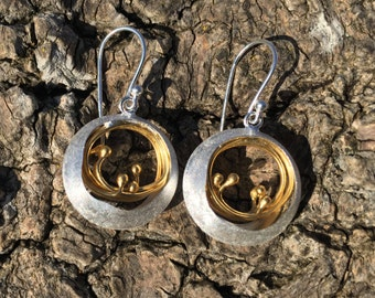 Sterling Silver Earrings with 18K Gold Double Hoop Detail