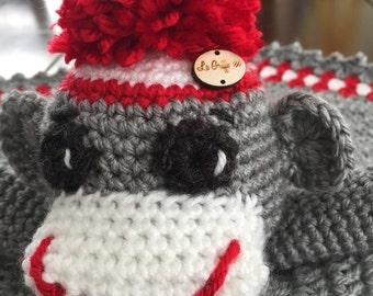 Sock monkey Baby Blanket couvert jouets bébé efants doudou fait à la main laine acrylique lavable à la machine produit de  québec crochet