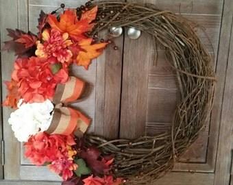 Fall Harvest Wreath, Fall Wreath, Front door wreath, Harvest Wreath, Beautiful Wreath, Grapevine Wreath