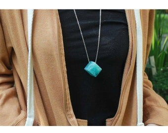 Resin Cube Necklace, Clear resin necklace jewellery, Turquoise necklace,Boho necklace,Marbled necklace pendant, geometric cube Resin Pendant