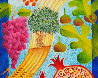 JUDAICA ART GIFT, original painting, Jewish art, Judaica wall art, bible verse wall art, Judaica gifts, israeli art,small canvas Jewish art