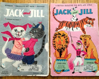 Vintage February 1954 and June 1954 Jack and Jill Magazines