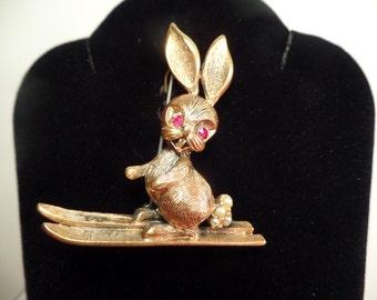 Cute Skiing Rabbit Brooch Signed Tortolani-1960's