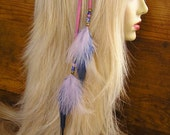 "16"" Feather Hair Extension - Pink Leather with Pink and Blue Feathers - hair clip with trade beads"