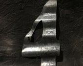 4 - Recycled Antique Roofing Tin Number by JunkFX