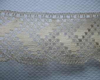 Vintage French Lace Ecru Curtain or Shelf Trim Cream 2 mtrs