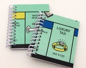 2 Recycled Mini Journal - Monopoly board Notebook - Upcycled Notebooks - Spiral Notebook - stocking stuffers