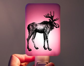 Moose Nightlight on Lilac purple pink lavender Fused Glass Night Light - Woodland Animal or Nature Lover - spring colors - Wildlife