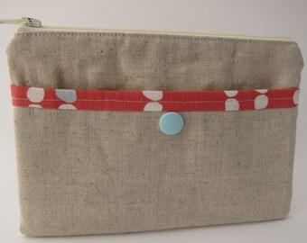 Modern Dot Linen Snap and Zip Pouch