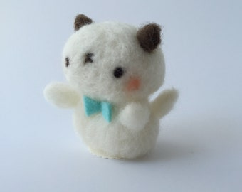 Kitty with Turquoise Bow Tie of Needle Felted Wool