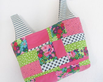 Colorful Patchwork Tote Bag | Reusable Reversible Market Grocery Shopping Project Bag
