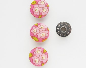Fabric Covered Buttons 1 Inch | 3 Pink Floral Fabric 25mm Shank Buttons