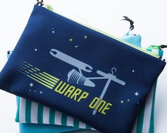 Zipper Bag, Weaving Pun, Star Trek, Warp One