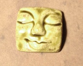 Large Square Face Ceramic Cabochon Stone in Earthy Green