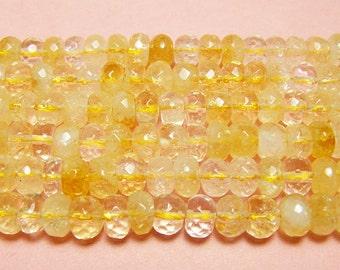 Light Citrine Faceted Rondelle Gemstone Beads