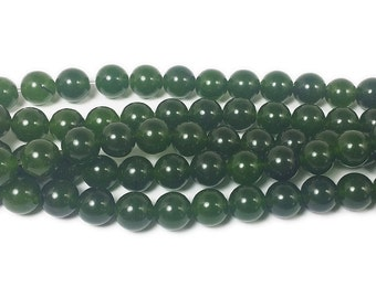 Dark Green Jade Round Gemstone Beads